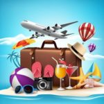 44952470 - 3d realistic summer vacation design for travel in a sand beach island in horizon with summer items. vector illustration